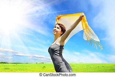 woman under blue sky