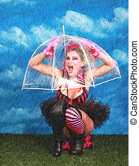Woman Under Umbrella While Raining