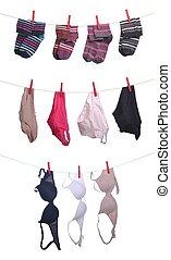 Woman underwear - woman underwear (socks, panties, bras) on...