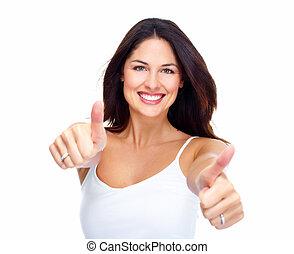 woman., ung, lycklig