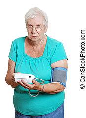 woman unhappy blood pressure machin