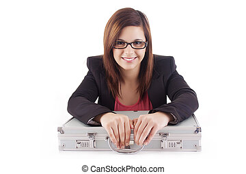 Woman unlocking metal grey case with important documents
