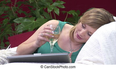 Woman Unwinding on Sofa