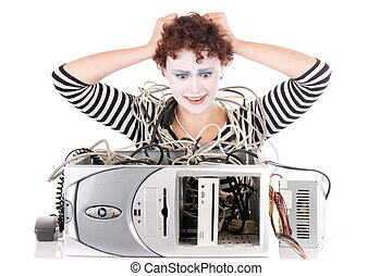 woman upset with computer