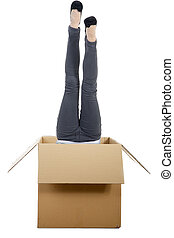 woman upside down in the carton