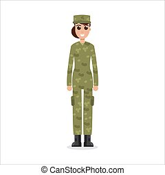 Woman US Army soldiers  in camouflage.  Vector illustration.