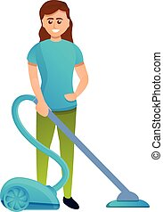 Woman use vacuum cleaner icon, cartoon style