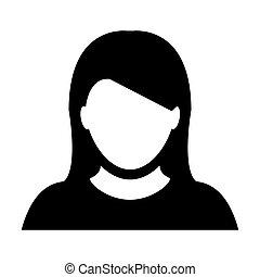 Woman User Icon - Person Profile Avatar Glyph Vector Illustration