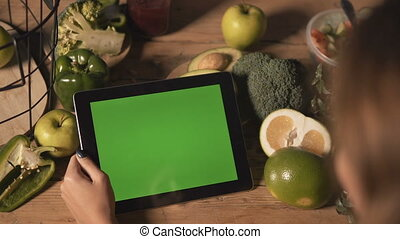 Woman Uses Tablet