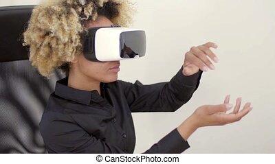 Woman Using 3D Virtual Reality Headset - Woman wearing 3d vr...