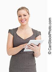 Woman using a digital computer