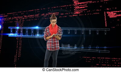 Woman using a digital tablet and DNA double helix