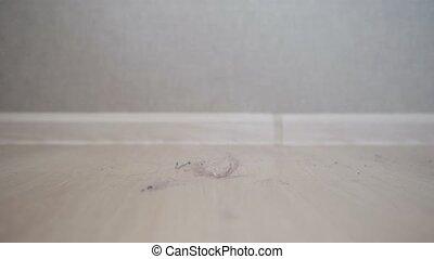 Pregnant female girl clean dust in flat house loggia Stock
