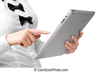 Woman using a tablet computer. On white background.