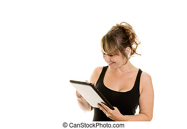 Woman using a tablet computer - Attractive woman using a...