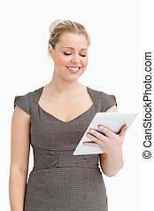 Woman using an ebook