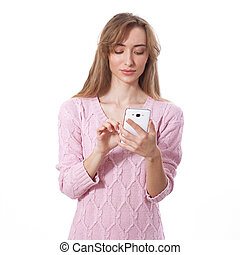 woman using app on smart phone