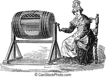 Old engraved illustration of Woman using barrel churn for making butter. Industrial encyclopedia E.-O. Lami - 1875.