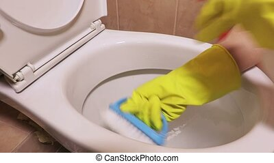 Woman using brush and spray for toilet bowl cleaning