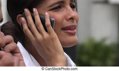 Woman Using Cell During Stock Market Crash