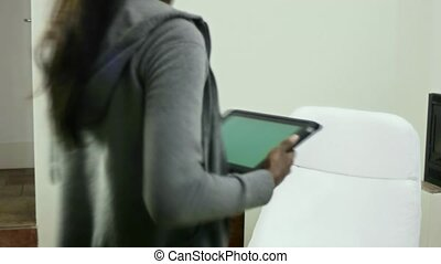 woman using digital tablet pc
