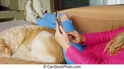 Woman using digital tablet with her dog on sofa 4k - Woman...