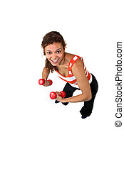 Woman using dumbbells
