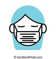 woman using face mask line half color style icon