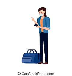 woman using fase mask and suitcase ,covid19 protection vector illustration design