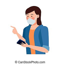 woman using fase mask ,covid19 protection vector illustration design