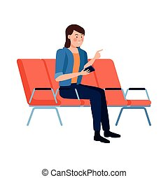 woman using fase mask in chairs ,covid19 protection vector illustration design