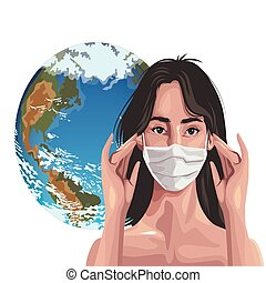 woman using fase mask with earth planet ,covid19 protection vector illustration design