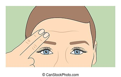 Woman using fingers to show onset of wrinkles and aging