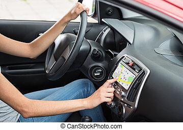 Woman Using GPS Navigation
