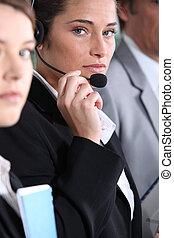 Woman using headset