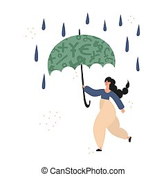 Woman using insurance and emergency fund illustration