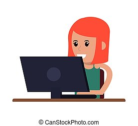 woman using laptop icon