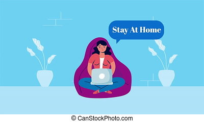 woman using in sofa stay at home campaign ,4k video animated