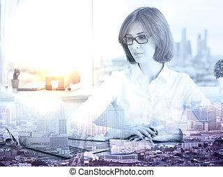 Woman using laptop multiepxosure