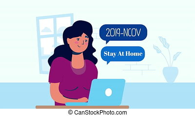 woman using laptop stay at home campaign ,4k video animated