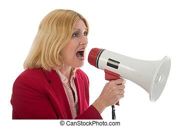 Woman Using Megaph