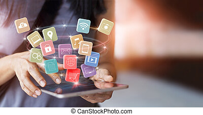 woman using mobile tablet payments online shopping and icon customer network connection on screen, pay all, m-banking and omni channel