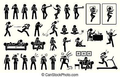 Woman using phone or smartphone in different poses, actions, emotions, reactions, and places.