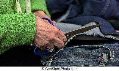 Woman using scissors