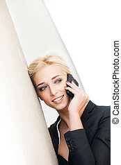 woman using smartphone city portrait