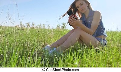 woman using smartphone lifestyle. Girl social media on Internet on outdoors smartphone
