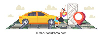 woman using smartphone ordering taxi mobile navigation app with location gps position on city map car sharing concept cityscape top angle view flat full length horizontal