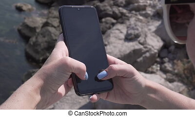 Woman Using Smartphone Texting Sending Messages, Close Up