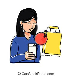 woman using smartphone with shopping bag