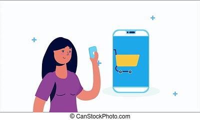 woman using smartphone with shopping cart ,4k video animated